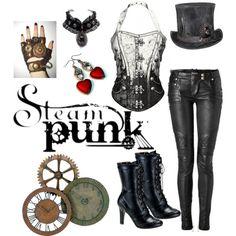 #Steampunk by noastrawberry on Polyvore #heart #earrings