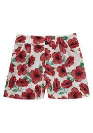 F&F Poppy Print Crepe Shorts