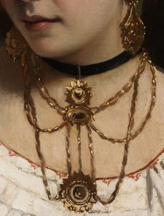 Portrait of a young Italian lady (detail) Leonardo Gasser (1831)