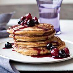 Cinnamon Polenta Pancakes #pancakes #breakfast
