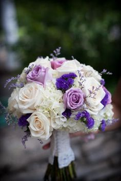 Beautiful hand tied bridal bouquet with white hydrangea, lavender and ivory roses, purple statice and lavender limonium. The unique handle was created by using the sleeve of the bride's mom's wedding gown. Hydrangea Bridal Bouquet, Bridal Flowers, Flower Bouquet Wedding, Hand Bouquet, Ivory Roses, Lavender Roses, White Roses, Purple Wedding Bouquets, Bridal Bouquets