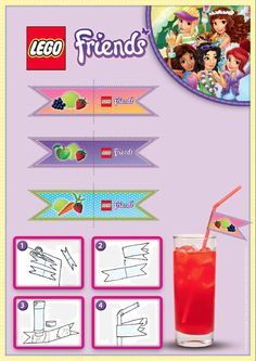 LEGO Friends Party Pieces - Print and cut out these wonderful labels to decorate your straws for your party! There is no easier way to personalize your drink the LEGO way. Lego Friends Cake, Lego Friends Birthday, Lego Friends Party, Lego Birthday Party, 6th Birthday Parties, Birthday Ideas, Lego Party Games, Party Kit, Party Ideas