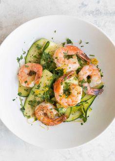 Shrimp with Zucchini Noodles and Lemon-Garlic Butter Recipe | SimplyRecipes.com