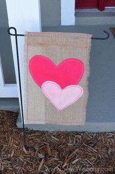 DIY heart garden banner for Valentine's Day.