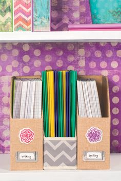 Pair neutral organizers with brightly colored notebooks for a look that can change year-to-year. Back to school, simplified!
