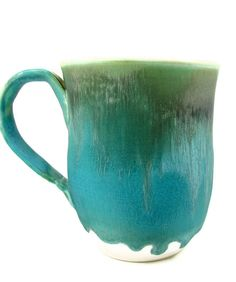 X LARGE Ceramic Mug  Stoneware Cup w Blue Green by PatsPottery
