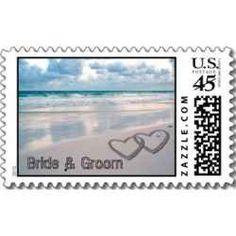 Beach Themed Wedding Postage Stamps. zazzle has many wedding stamp options