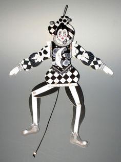 Large black & white Renaissance Jester   jumping jack