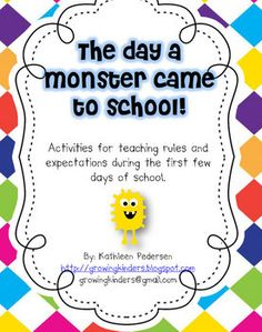 Nice free download for teaching manners and expectations in the classroom. We read this story every year and then make a monster with class rules!   Love Kathleen!!!!