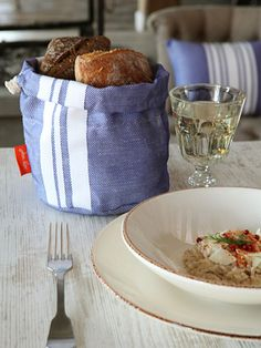 Heated Linen Bread Basket from The French Country Table on Gilt