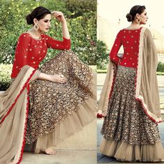 #Nargis #Fakhri's flaunted Red #Floral #Lehenga #Choli straight out from #Bollywood Collection Outlet.