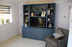 The BookCase Co Specialises in Bespoke Bookcases, Alcove Units and all Fitted Furniture - The BookCase Co Living Room Built In Units, Built In Tv Wall Unit, Small Living Room Layout, Tv Built In, Living Room Shelves, Living Room Storage, Small Living Rooms, New Living Room, Living Room Decor