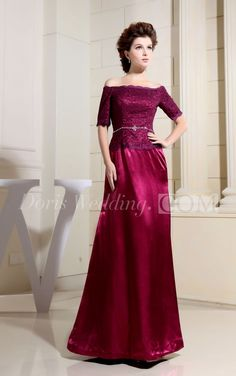 Refined Short-Sleeve Satin Long Mother of the Groom Dress With Beaded Bodice, Perfect for Mother of Brides Dresses . #long #DorisWedding.com