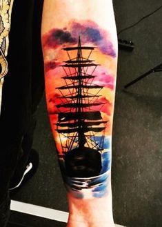 Nautical Tattoo Sleeve, Nautical Tattoos, Flame Tattoos, Ship Tattoos, Arrow Tattoos, Tatoos, Tattoo Barco, Tattoos For Guys, Tattoos For Women