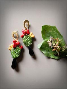 Pendant Earrings, Drop Earrings, Cactus Earrings, Textiles, Clay Art, Designer Earrings, Clay Jewelry, Jewelery, Polymer Clay