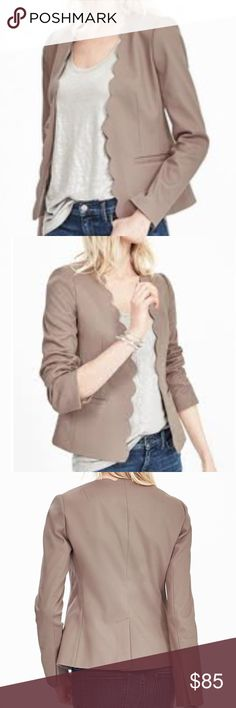 "NWT - Banana Republic Blazer Brand New BR Scalloped blazer in Tan. Womens size 10. Retail. Where do work with a skirt or dress slacks, and the throw on jeans for a trendy ""night out"" style!!! Retail $175 J. Crew Jackets & Coats Blazers"