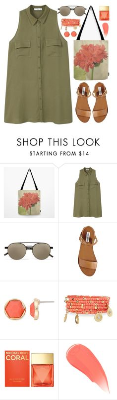 """""""OOTD - Khaki Green Dress"""" by by-jwp ❤ liked on Polyvore featuring MANGO, Le Specs, Steve Madden, Monet, Emily & Ashley, Michael Kors, Burberry, summerstyle, summeroutfit and summertrend"""