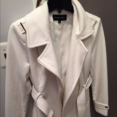 White Gold Coat Belt Military Zipper