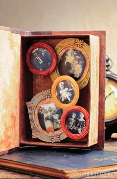 Here's a sculptural take on the traditional family photo album. We added a collection of mini-frames (available in the Scrapbooking Department) that were hand-painted to coordinate. They're simply mounted on stacks of foam board.