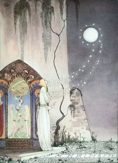 """'She could not help setting the door a little ajar, just to peep in, when—Pop! out flew the Moon' ~ The Lassie and Her Godmother; from """"East of the Sun and West of the Moon: Old Tales From The North,"""" c.1914; illustrator Kay Nielsen #art #illustration"""