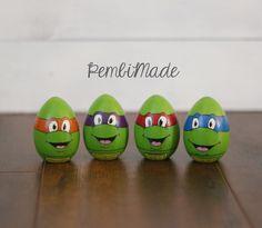 Ninja Turtles Inspired Wooden Character Egg Set by PembiMade