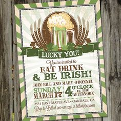 St. Patrick's Day Luck of the Irish St. Patty's Day Green Beer PRINTABLE Party Invitation