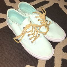 Turquoise Vans Worn only a few times & still in great condition!!! Super cute shoes and very rare color. Feel free to ask questions  Vans Shoes
