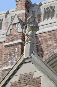 A goat gargoyle atop the Sterling Law Building. Yale, New Haven, Connecticut.  Photo from Yale University via Flickr