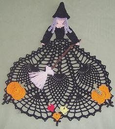 New Hand Crocheted Halloween Doily Witch Afatc   eBay