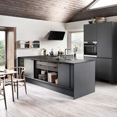 PRATO X grey - a minimalistic grey kitchen with our new X-module that makes the kitchen melt together with the rest of the house 🏡 Kitchen Images, Kitchen Pictures, Kitchen Interior, Kitchen Design, Black And Grey Kitchen, Beddinge, Grey Kitchens, Cuisines Design, Home And Living
