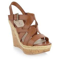 Tan wedge heel sandals - High heel shoes - Shoes & boots - Women -