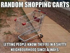 I once counted 13 shopping carts on one side of the road while riding through a shitty neighborhood on a public bus.