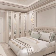 Nightstands, beds, side tables, cabinets or armchairs are some of the luxury bedroom furniture tips that you can find. Every detail matters when we are decorating our master bedroom, right? Simple Bedroom Design, Luxury Bedroom Design, Bedroom Bed Design, Bedroom Sets, Bedroom 2018, Bedding Sets, Luxury Bedroom Furniture, Master Bedroom Interior, Home Decor Bedroom