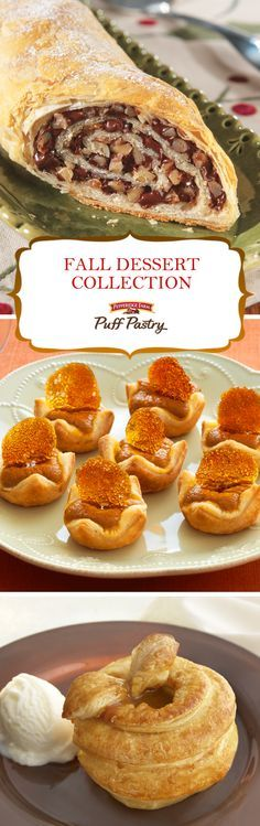 Pepperidge Farm Puff Pastry Fall Dessert Recipe Collection. Nothing goes better with your pumpkin spice latte than a freshly baked Puff Pastry dessert! Celebrate traditional fall flavors like pumpkin and apple, warm-up by the fire with a slice of Chocolate Walnut Strudel, or plan what you'll be baking this Thanksgiving. From easy Elephant Ears to simply stunning Salted Caramel Chocolate Crostinis, this list has a sweet dessert recipe for everyone!