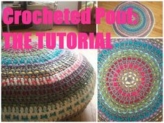Crocheted pouf tutorial in Dutch and English. ♥ ~~Finally a tut for a crocheted pouf! Crochet Pouf Pattern, Crochet Motifs, Crochet Cushions, Crochet Pillow, Love Crochet, Learn To Crochet, Crochet Crafts, Crochet Yarn, Crochet Projects