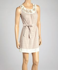 Look what I found on #zulily! Beige Yoke Neck Sleeveless Dress by Farinelli #zulilyfinds
