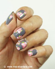 Vintage Pink Roses Nail Art  #Nails www.finditforweddings.com