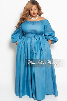 6dad37cdb7 Final Sale Plus Size Off the Shoulder Maxi Dress with Attached Tie and  Bottom Buttons in Light Blue Denim. Chic And Curvy