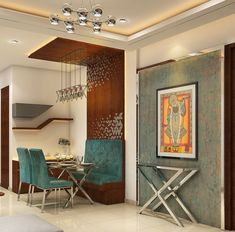 Dinning space with modern velvet furniture and wall decor by Nidhi Rathod Dining-room Contemporary Home Room Design, House Design, Indian Bedroom Decor, Indian Wall Decor, Home Decor Ideas, Decorating Ideas, Indian Living Rooms, Dining Room Wall Decor, Dining Table Design