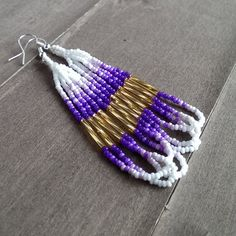 Native American beaded earrings in Purple gold and white earrings available at SouthWindDesign.etsy.com