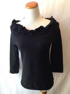 J. McLaughlin black cashmere cotton boatneck sweater Small S #JMcLaughlin #BoatNeck #cashmere