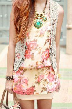 Floral Tunic | Bandage Skirt | Crochet Vest