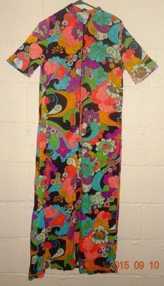 "VTG Maxi Dress Psychedelic 60 - 70's Flower Power MOD Alice CA Small 19"" U.S.A.  #AliceofCA"