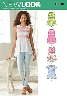 Misses Pullover Tops with Hemline Variations New Look Pattern 6286. Size 4-16.