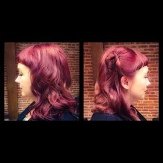 Cut, Color, and Style by our talented artist Stacey Steffes #cut #color #style #red #redhead #vibrantred #redviolet #warmtones #longhair #pixiebangs #bangs #fringe #pinup #pinupstyle #lovehair #envy #envyme