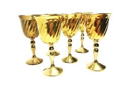 Vintage mid century set of 6 tall brass wine goblets with long elegant stems and swirled bodies, made in India Goth Home, Wine Goblets, Amber Glass, Vintage Looks, Solid Brass, Wine Glass, Mid Century, Elegant, How To Make