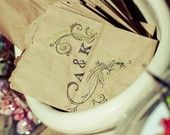 200 Personalized Wedding Favor CANDY BAGS. Custom. Rustic Chic. Hand Stamped.. $105.00, via Etsy.