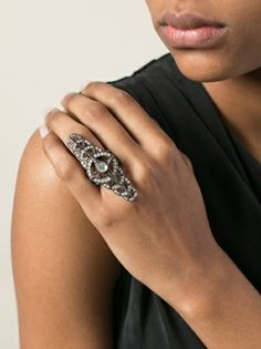 Black rhodium and 18 carat gold bandage ring from Loree Rodkin featuring grey diamonds and a centre stone icy diamond Jewelry Rings, Fine Jewelry, Jewellery, Armor Ring, Black Rhodium, Carat Gold, Rings For Men, Jewelry Design, Wedding Rings