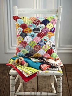 Clamshell patchwork cushion - perfect for scrap fabric - by Jo Avery from @J O Avery ! From issue 4 of Love Patchwork & Quilting. Photo © Love Patchwork & Quilting