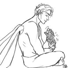 Azriel making a flower crown for Elain by raconteurwitch